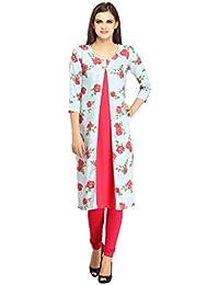[Sponsored]Desi Knots Women's Pink Floral Crepe Kurta- (IDWK-025-P)