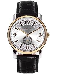 Boudier & Cie BSSM205 - Reloj de Cuarzo Analogico con movimiento Suizo para hombre, Esfera plateada, Carcasa dorada, Correa de Cuero negro