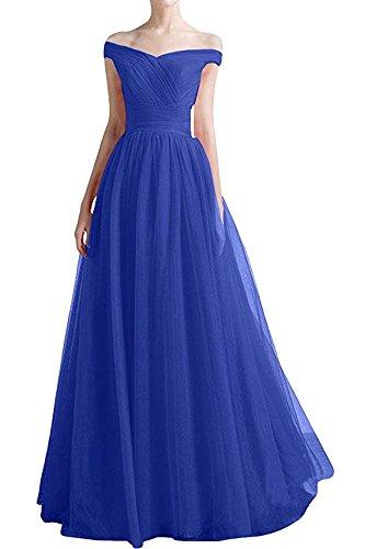 Victory Bridal Elegant Tuell Damen Abendkleider Ballkleider Partykleider Lang Tanzenkleider Sommer Royalblau
