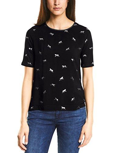 Street One Damen T-Shirt 312037, Mehrfarbig (Black 20001), 34