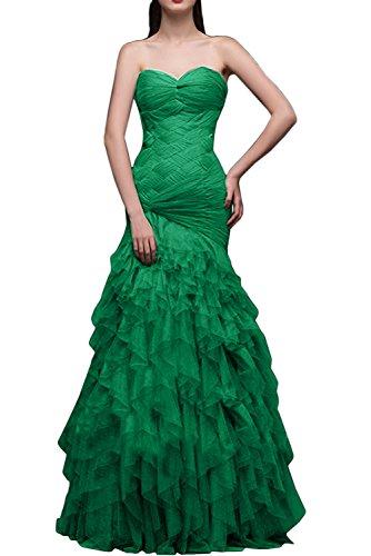 Gorgeous Bride Elegant Meerjungfrau Lang Satin Tüll Herzform Schleppe Abendkleider Lang Cocktailkleider Ballkleider Grün