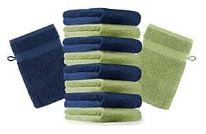 10er Pack Waschhandschuhe Waschlappen Premium Farbe Dunkel Blau & Apfel Grün Größe 16x21 cm Kordelaufhänger 100% Baumwolle