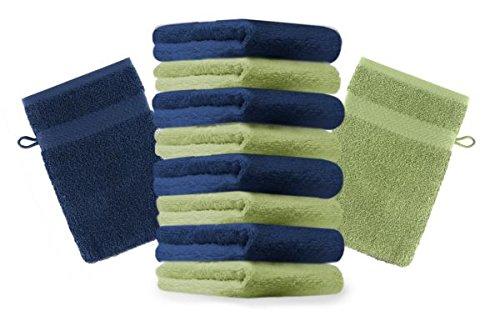 Betz Lot de 10 gants de toilette taille 16x21 cm 100% coton Premium couleur bleu foncé, vert pomme