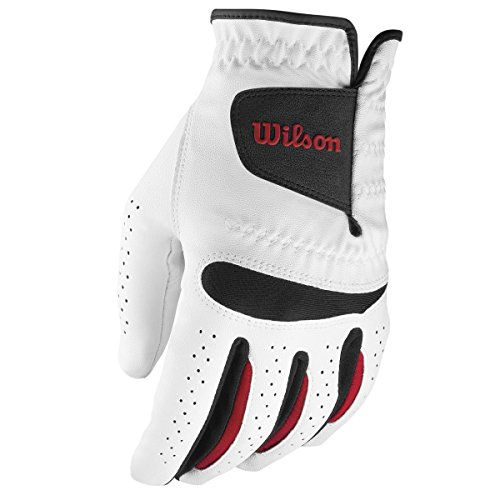Wilson Feel Plus Golf Left Hand Glove Mens Weather-Proof Synthetic Leather White blanco white - white Size:Large