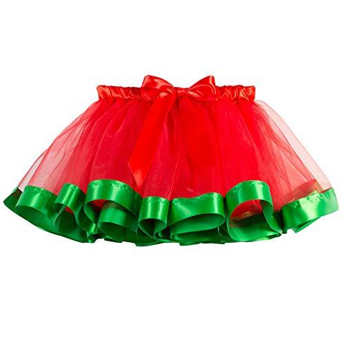 Yvelands Baby Mädchen Kinder Weihnachten Tutu Ballett Röcke Fancy Party Rock + Stirnband Set(L(7-11T),Grün)