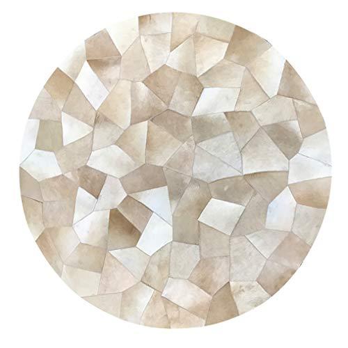 Handgemachtes Rindsleder Kreis Area Rug - 100% Leder Rindsleder Runde 1M / 3'3Ft Bereich Teppich - Geometrische Mosaik-Sammlung - Patchwork-Teppich FüR Tiere Mit Brauner Beige Schwarzer Spleiß,D - Tier-haut-teppich