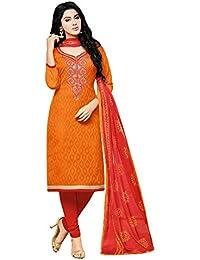 Applecreation Women's Lakda Cotton Jacquard Unstitched Salwar Suit Dress Material with Chiffon Dupatta (Multi Coloured_Free Size)