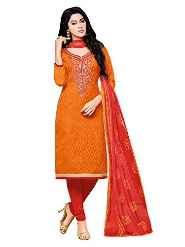 AppleCreation Women Cotton Dress Material (Orange_Orange dress material -9DRD97005_Free Size)