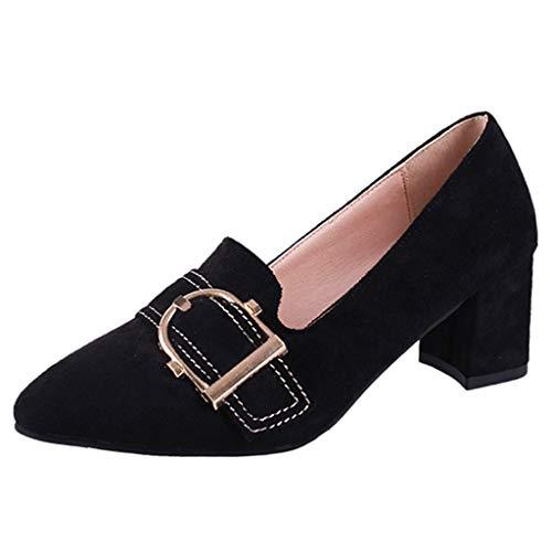 Damen Pumps Loafers Absatzschuhe,Frauen Wildleder Pointed Toe Atmungsaktiv Slip On Pumps Einzelne Schuhe für Casual Party Hochzeit,Mode Loafers Freizeitschuhe Tanzschuhe Hochhackig Abendschuhe