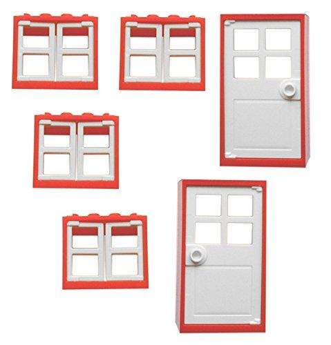 LEGO CITY - 4 Fenster mit Läden + 2 Haustüren mit Rahmen - insgesamt 16 Teile