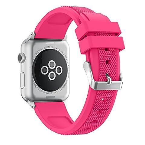Für Apple Watch 21Gen-Makronen Farbe Ersatz Silikon Band Armband für Apple Watch Serie 12Armband Band Armband Armreif + Metall Schließe, PQ1279 Pink