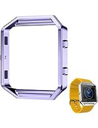 Malloom Reloj de acero inoxidable de lujo reloj de marco de metal titular de reemplazar Para Fitbit Blaze reloj inteligente (morado)