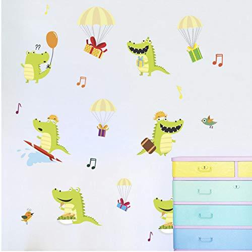 fqz93in Krokodil Fallschirm Geschenk Wandaufkleber Abziehbilder Kindergartenkinder Schlafzimmer Wohnzimmer Wandtattoos Cartoon Wandbild Poster