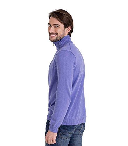 WoolOvers Strick-Pullover mit Zip-Kragen - Herren (Cotton-Cashmere) - C24 Alpine Blue