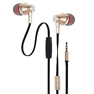 Jkobi ProHD Bass Metal Plugs In-Ear Earphone Headset Compatible For LG K5 -Soft Gold