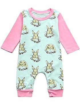 Omiky® Baby-Jungen-Mädchen-Ostern-Karikatur-Kaninchen-Druck-Spielanzug-Overall-Ausstattungen