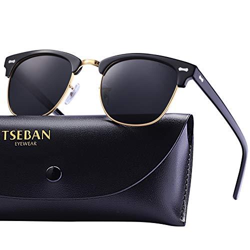 TSEBAN Retro Sonnenbrille Damen Polarisierte Outdoor Brille UV400 Schutz für Fahren Golf Angeln, Acetat Rahmen (Damen, Halbrahmen - Schwarz)