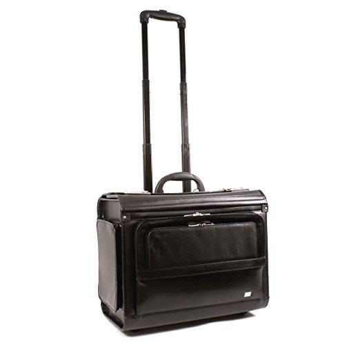 Preisvergleich Produktbild 6915 schwarz Leder Business Aktentasche Laptop Trolley