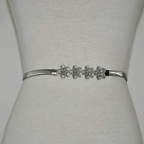 Ddcjc Taille Kette Mode Blume Retro-Textur Metallfeder Elastische Taille Kette Eisenkette Dünnen Gürtel - Eisenkette Kette