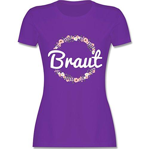 JGA Junggesellinnenabschied - Braut Blumenkranz - L - Lila - L191 - Damen T-Shirt Rundhals