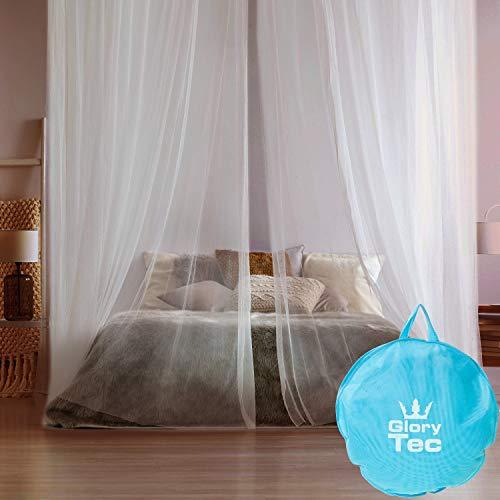 Glorytec Moskitonetz XXL - mit 2-Wege-Reißverschluss für Doppelbett und Einzel-Bett - Premium Mückennetz - Fliegennetz Schützt vor Insekten und Mücken -