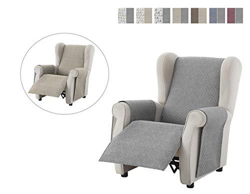 Textil-home Sesselschoner Relax Dante, 1 Sitzer - Reversibel gepolsterter Sofaschutz. Farbe Grau