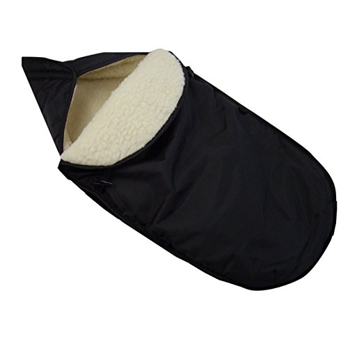 Preisvergleich Produktbild BAMBINIWELT universaler Winterfußsack für Babyschale (z.B: Maxi-Cosi) oder Kinderwagen, aus Wolle UNI SCHWARZ