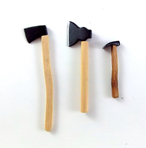 dolls-house-miniature-112-scale-garden-shed-accessory-3-axes-chopping-tools