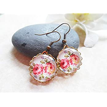Romantic brass earrings with pink flower pendants, nature and vintage inspired jewelry, Selma Dreams