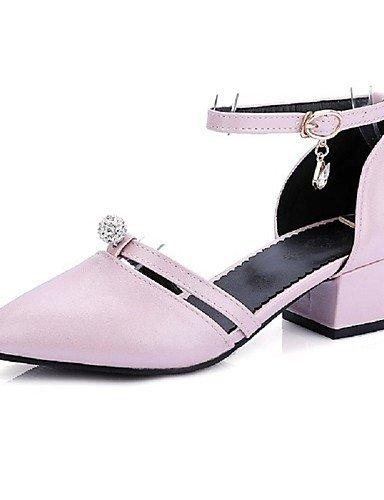 WSS 2016 Chaussures Femme-Habillé-Noir / Rose / Rouge / Blanc-Gros Talon-Talons / Bout Pointu-Talons-Similicuir black-us5.5 / eu36 / uk3.5 / cn35