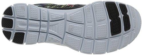 Skechers Flex AppealFloral Bloom, Low-Top Sneaker donna Nero (BKMT)