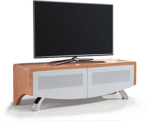 MDA Designs Wave 1200 Verre Blanc hybride Beamthru Meuble Remote-friendly 81,3 - 152,4 cm téléviseur à écran plat Cabinet chêne