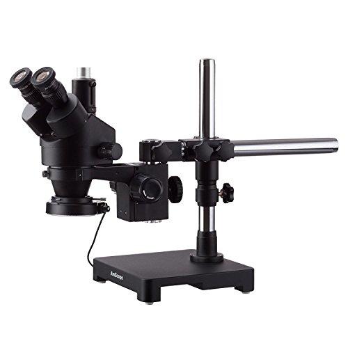 AmScope 7X-45X Triinokular-Stereo-Zoom-Mikroskop mit einem Arm Galgenstativ + 144 LED Kompakte Ringlicht