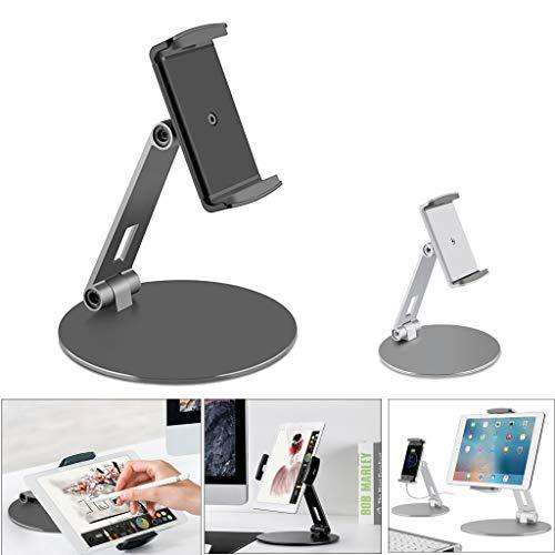 Aluminium-basis-pad (Jamicy® Handyhalterung Desktop, Telefon Tablet Halter Ständer mit Aluminiumlegierung Basis, Halterung Schreibtisch Einstellbare Display Cradle, Smartphone Pad Tablet von 4 Zoll bis 14 Zoll (Schwarz))