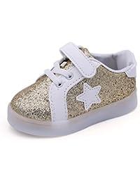 Zapatos de bebé, K-youth® Zapatos para bebe Cuero Niño Niña Prewalker Light Up Zapatos deportivas para niños niñas emisores de luces LED zapatos Casual zapatos