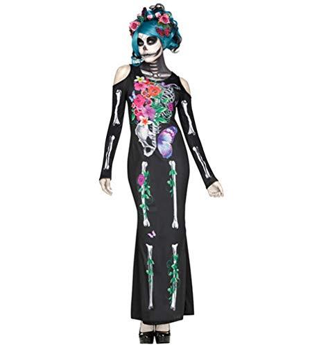 Zygeo - lustige Halloween-Kostüme Horror Cos blutiger Schädel Zombie-Kostüm Vampir Geisterbraut für Frauen Halloween-Partei Cosplay Anzug [M Brown]