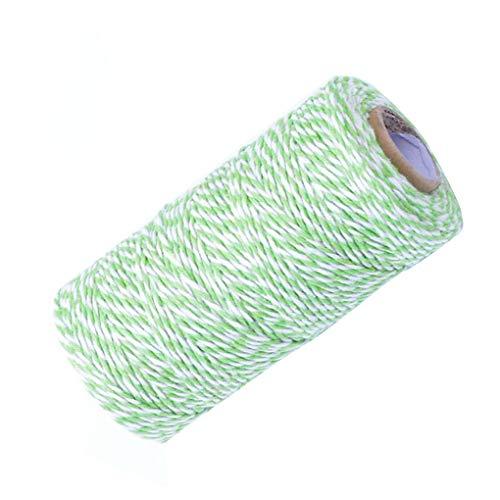 Cord Bäcker (Babysbreath17 Baumwolle Bindfäden Cord Doppel Farbe Feiertag Twine Dekorative Bakers Twine für DIY Handwerk und Geschenkverpackung Bonus Grün Weiß 100m*2mm)