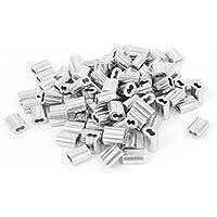 """sourcingmap® Cuerda de alambre de aluminio de aluminio para cable con mangas largas 100 pcs 1/16"""""""
