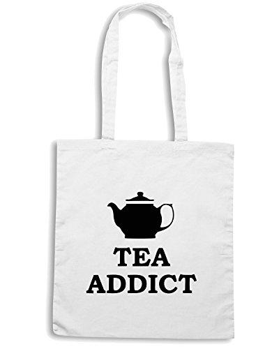 T-Shirtshock - Borsa Shopping TR0132 Tea Addict 25mm 1 Pin Badge Button Retro Vintage Teapot Pop Art Bianco
