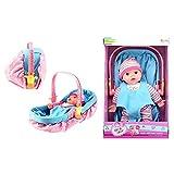 Toi-Toys 02064A Babypuppe mit MiniCosi und Babyschale für Kinder Kinderzimmer Freunde Mädchen Kleider Baby Babypuppe Puppen Kinderspielzeug Spielzeug