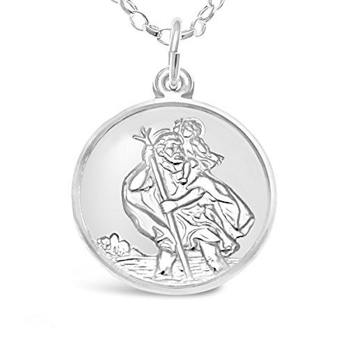 Médaille St Christophe en argent sterling avec chaîne de 45,7cm–Avion, bateau et voiture sur le dos et boîte cadeau