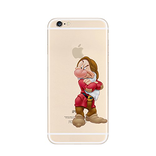 Disney winnie-the-pooh and friends ;7dwarfs trasparente in poliuretano termoplastico per iphone-cover iphone 5,5s,5c,6/6s plastica(iphone 7,grumpy)