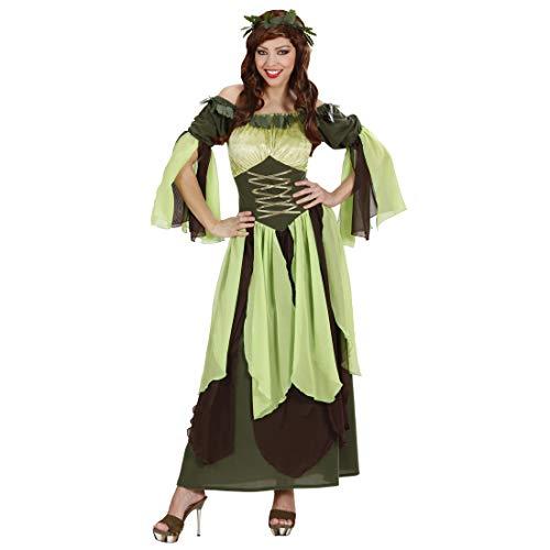 Erwachsene Damen Für Kostüm Märchen Wald - NET TOYS Langes Frauen-Kostüm Fee | Grün-Braun in Größe L (42/44) | Märchenhaftes Damen-Kleid Wald-Elfe | EIN Blickfang für Fasching & Karneval