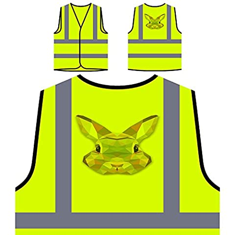 Origami Bunny Water Colours Novelty Personalized Hi Visibility Yellow Safety Jacket Vest Waistcoat o58v