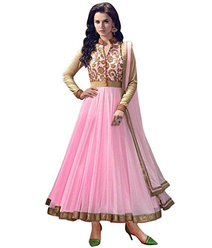 Ethnic Shop Women's Net Designer Pink Long Anarkali Suit