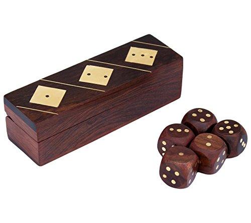 Scatola artigianale e 5 dadi Set puzzle in legno giocattoli e giochi