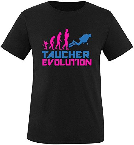 EZYshirt® Taucher Evolution Herren Rundhals T-Shirt Schwarz/Pink/Blau