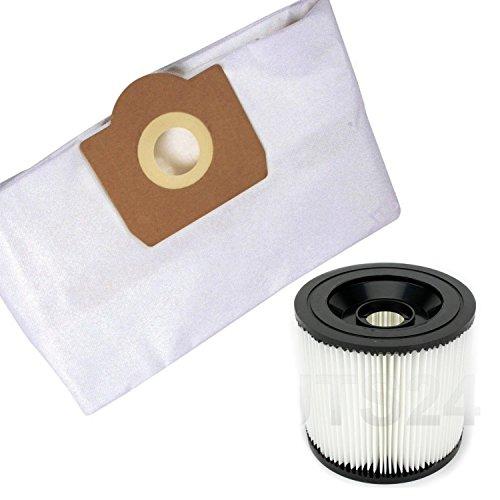 Staubsaugerbeutel Filtertüten Saugbeutel und Lammelenfilter Rundfilter Filter Ersatz für Kärcher Modell 10 Vlies Beutel + 1 Filter MV 3, WD 3200, WD 3500 P.u.M.,WD 3.200,WD 3.500