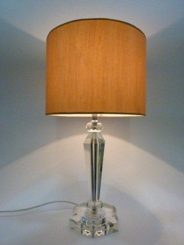 Dapo Tischleuchte mit Kristallfuß und Seiden – Stoffschirm Csaba Kristalleuchte Tischlampe