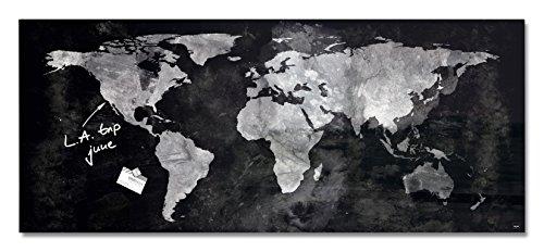 SIGEL GL246 Großes Glas-Magnetboard 130 x 55 cm Weltkarte / Magnettafel Artverum - weitere Designs (Weltkarte Große)
